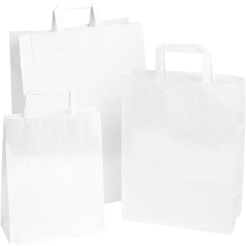 Draagtassen Papier Wit 180 x 80 x 220mm Horecavoordeel.com