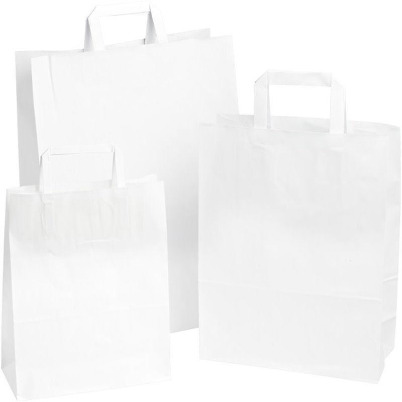 Paper carrying Bags White 320x180x260mm - Horecavoordeel.com