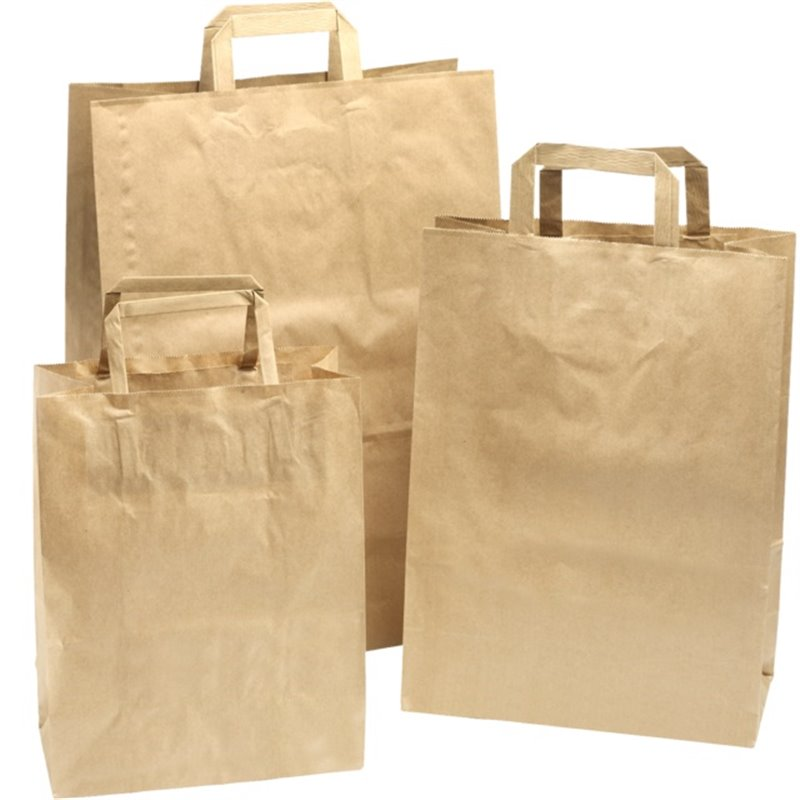 Paper carrying Bags Brown 220x100x280mm - Horecavoordeel.com