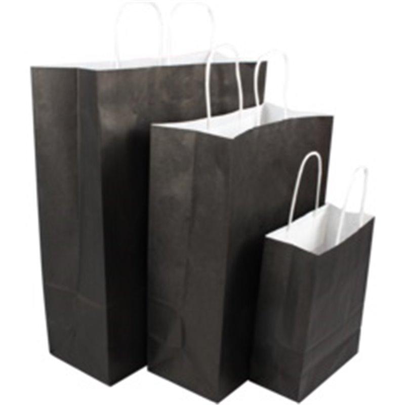 Paper carrying Bags Black 180x80x220mm - Horecavoordeel.com