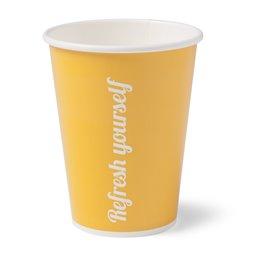 """Milkshake Bekers 300ml Geel Karton """"Refresh Yourself"""" Ø 90mm (Klein-verpakking)"""