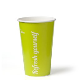 """Milkshake Bekers 400ml Lime Karton """"Refresh Yourself"""" Ø 90mm"""