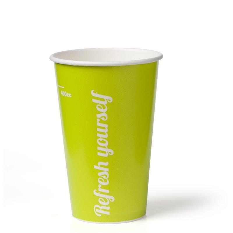 """Milkshake Bekers 400ml Lime Karton """"Refresh Yourself"""" Ø 90mm Horecavoordeel.com"""
