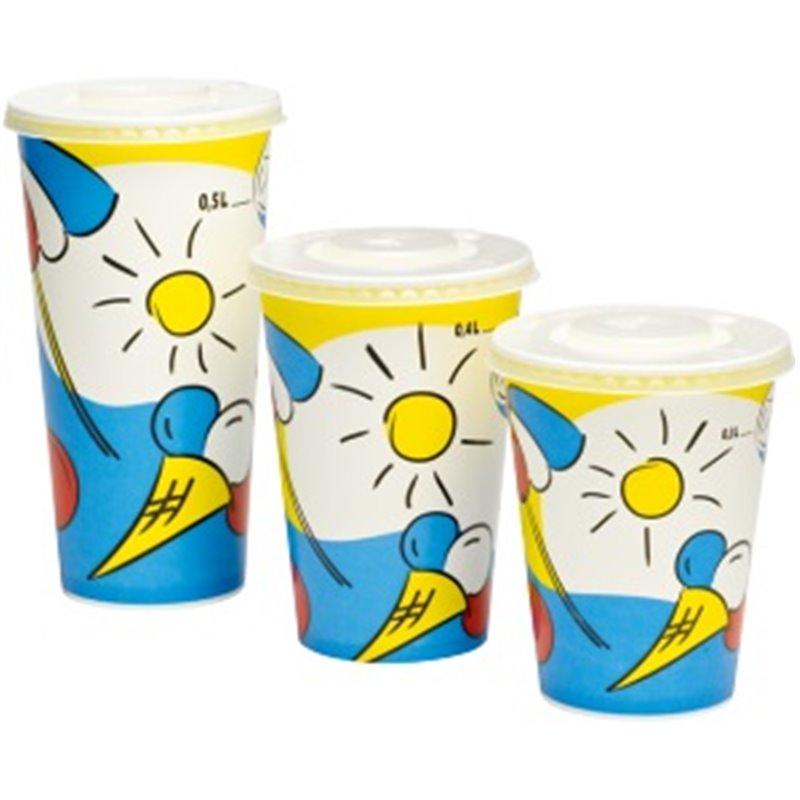 Milkshake Paper Cup Printed Sunny 300cc - Horecavoordeel.com