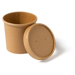 Paper Soup Cup brown 350cc 12oz with Lid Biodore