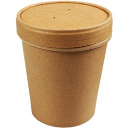 Paper Soup Cup brown 473cc 16oz with Lid (Small package)