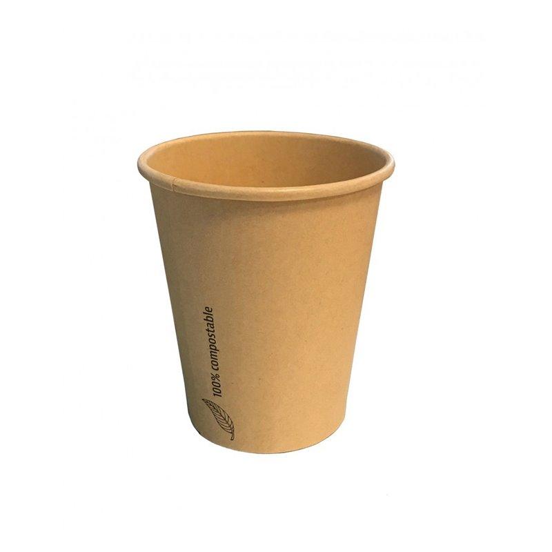 Paper Cup-pla 300cc-12oz-90mm brown - Horecavoordeel.com