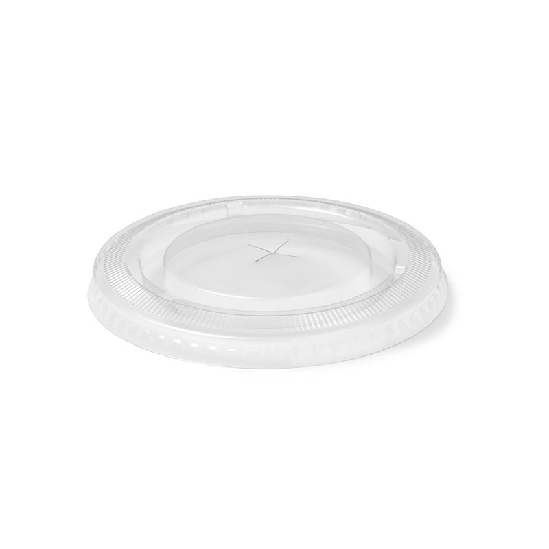 Lid for Juice Cup 95mm Flat transparent with Cross hole (Small package) - Horecavoordeel.com