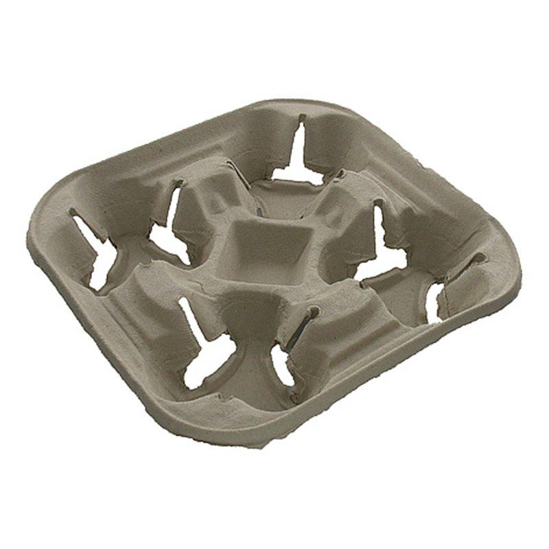 Carrying tray 4 holes Pulp Biodegradable - Horecavoordeel.com