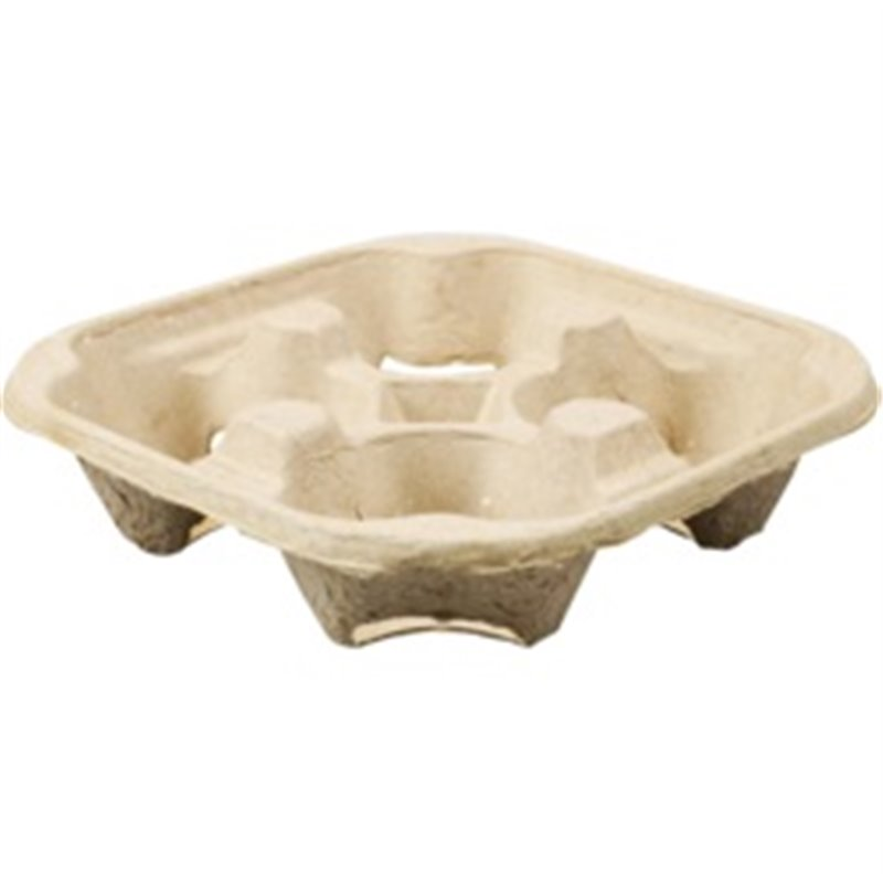 Carrying tray 4 holes Pulp Biodegradable (Small package) - Horecavoordeel.com