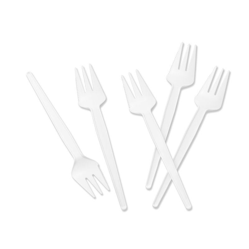 Snack fork white with cutting edge 135mm - Horecavoordeel.com