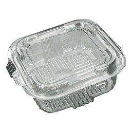 Saladbowl 500cc Transparent square + fixed Lids 132x132x50mm - Horecavoordeel.com