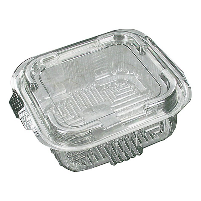 Saladbowl 500cc Transparent square + fixed Lids 132x132x50mm - Horecavoordeel.com