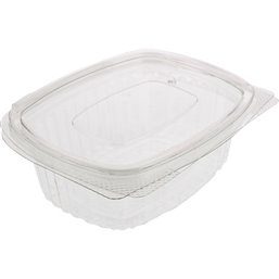 Saladbowl 500cc rectangular Transparent Leakprowith  - Horecavoordeel.com
