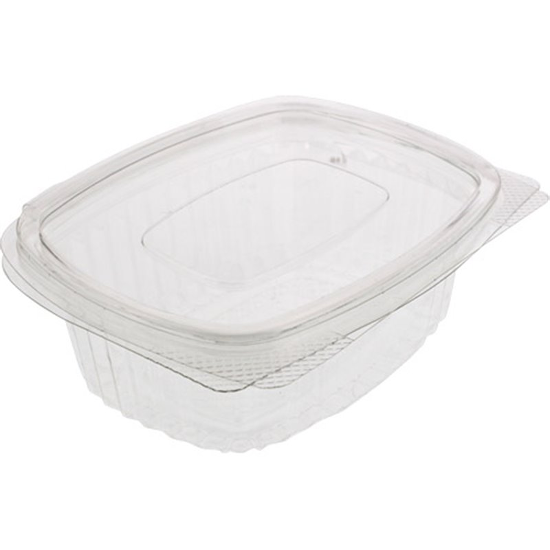 Saladbowl 1000cc rectangular Transparent Leakprowith  - Horecavoordeel.com