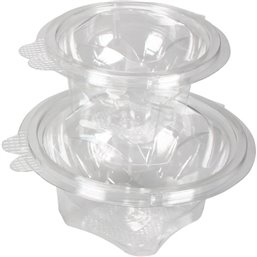 Saladbowl 600cc round with fixed Lids Leakprowith Transparent (Small package) - Horecavoordeel.com