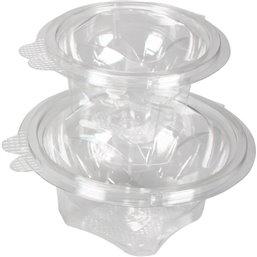 Saladebakken 1000cc + Vaste Deksels Rond Transparant Lekdicht (Klein-verpakking)