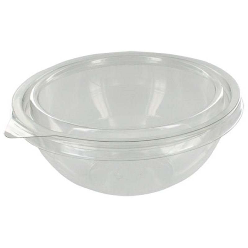 Saladebakken 2000cc Rond Transparant met Deksels (Klein-verpakking) Horecavoordeel.com