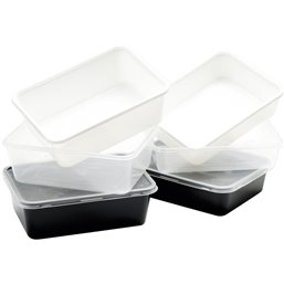 Microwave Meal containers - Bins 173 Series 1000cc Rectangle PP Transparent 175 x 119 x 72mm