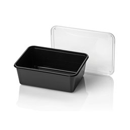 Microwave Meal containers - Bins 182 Series 1000cc Rectangle PP Black - Horecavoordeel.com