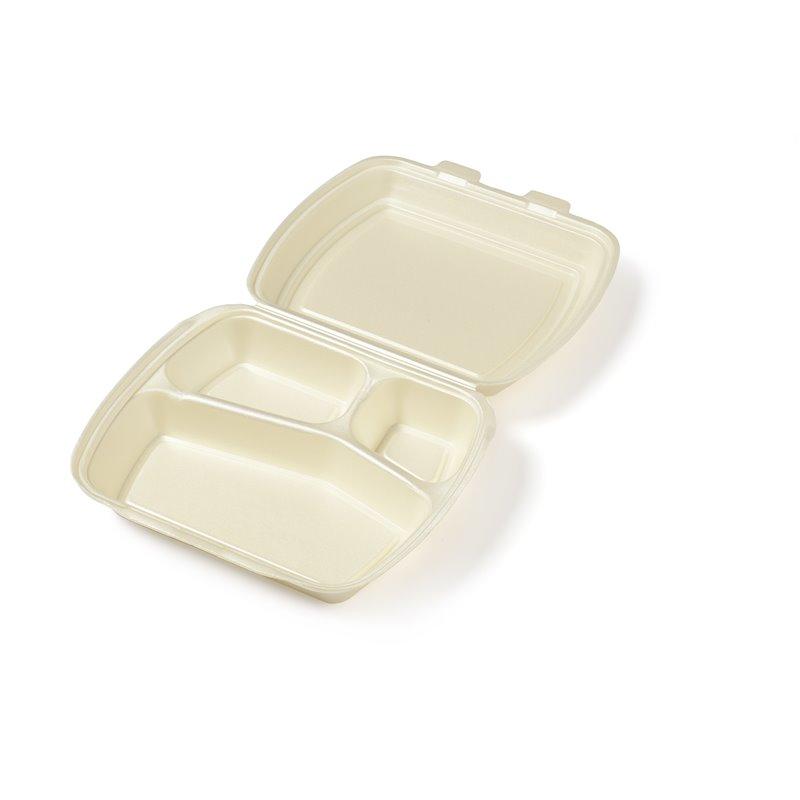 Menu box Beige 3 compartments 240x195x75mm - Horecavoordeel.com