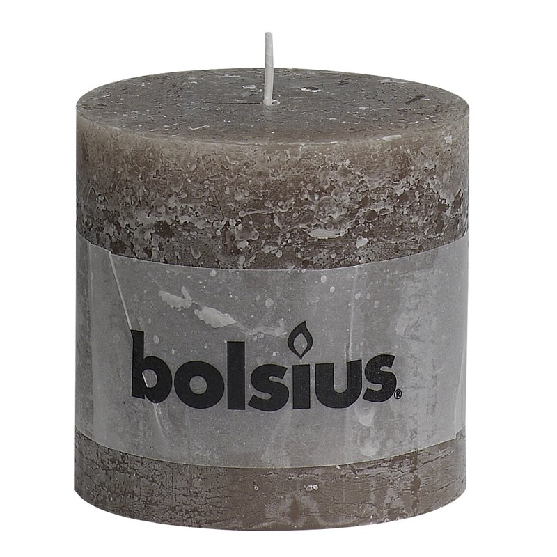 Pillar Candles Rustic 100x1000mm Taupe - Horecavoordeel.com