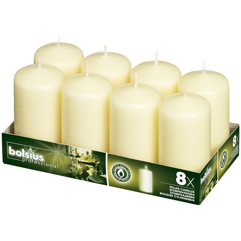 Pillar Candles 100x80mm Ivory Neutral - Horecavoordeel.com