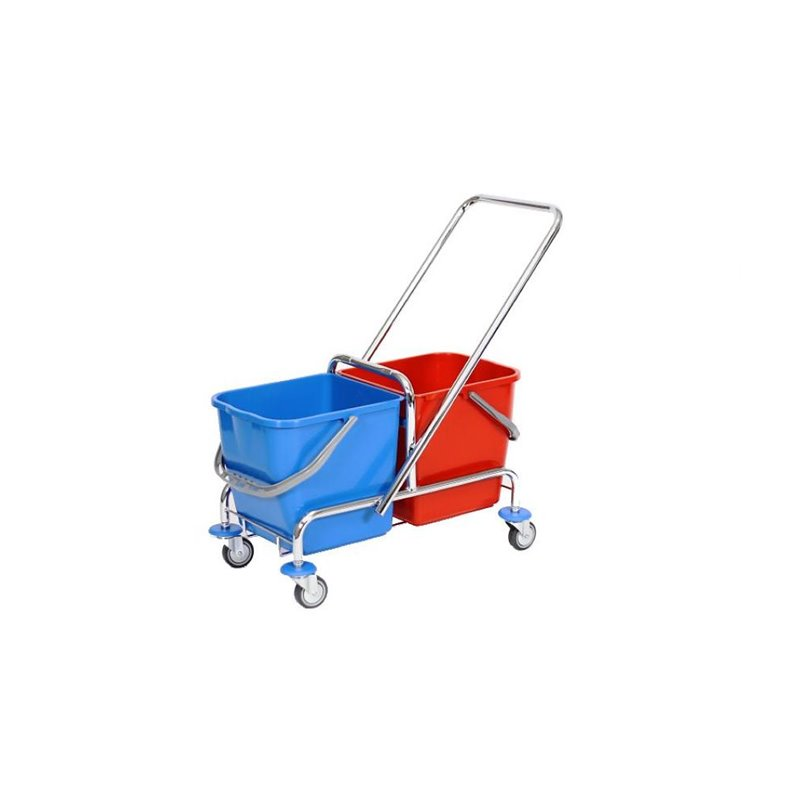 Roll bucket Chrome Duo 2x25l Including Push handle Press Blue - Horecavoordeel.com