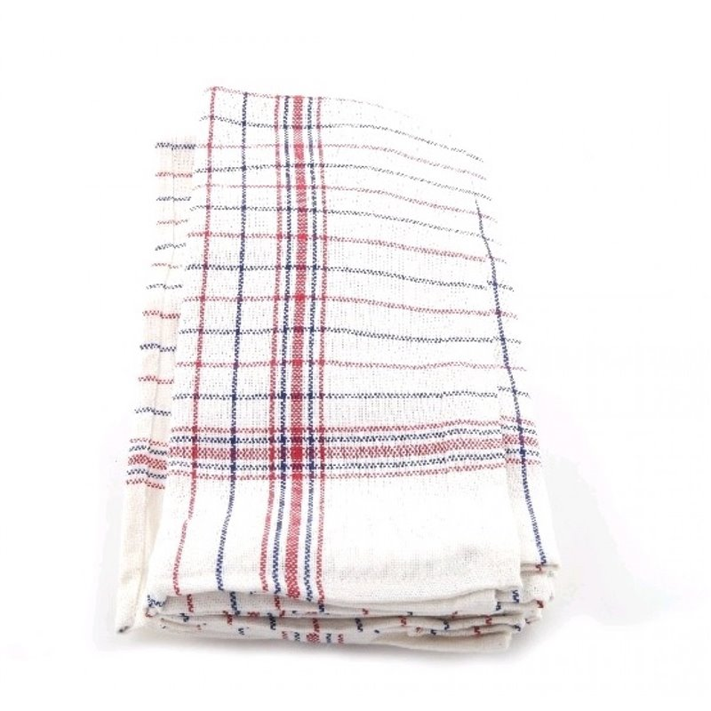 Kitchen towels Blue/Red with stripes 65x65cm  - Horecavoordeel.com