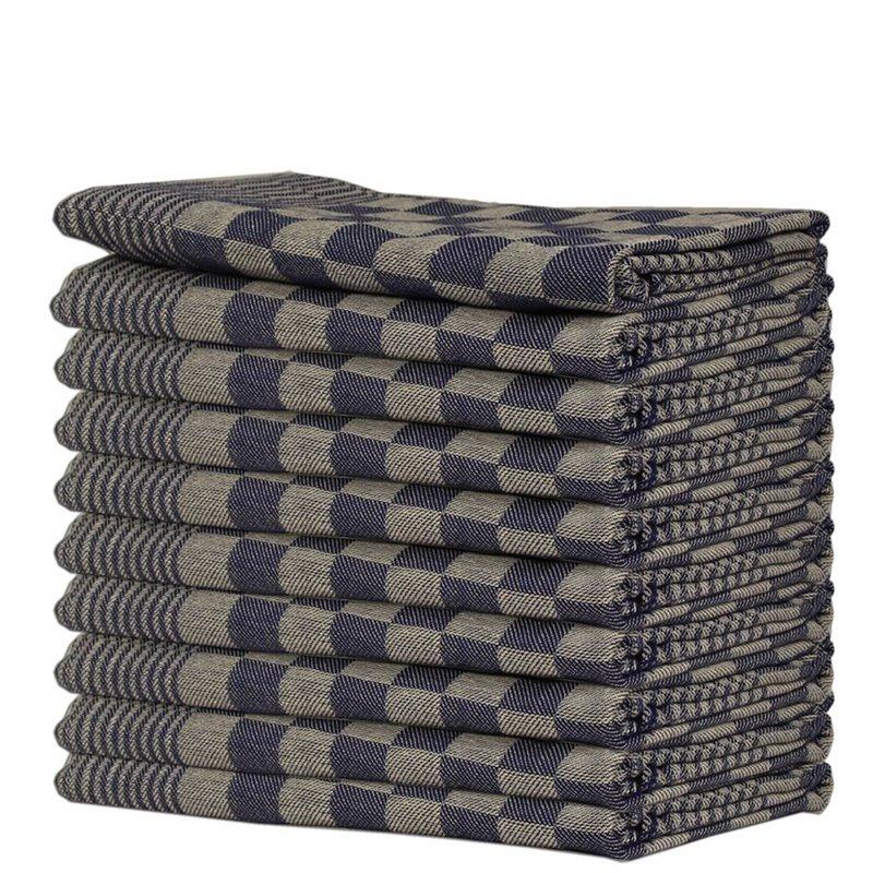 Kitchen towels Blocked Blue 65x65cm - Horecavoordeel.com