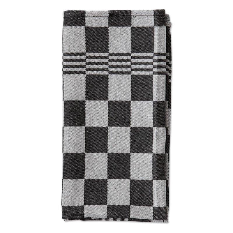 Kitchen towels Blocked Black 65x65cm - Horecavoordeel.com