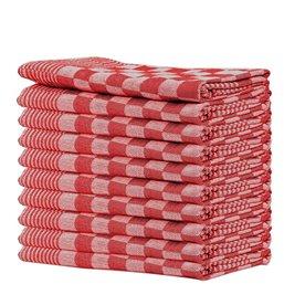 Kitchen towels Blocked Red 65x65cm - Horecavoordeel.com