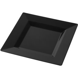 Plastic Plate - dish Square large Black 240mm - Horecavoordeel.com