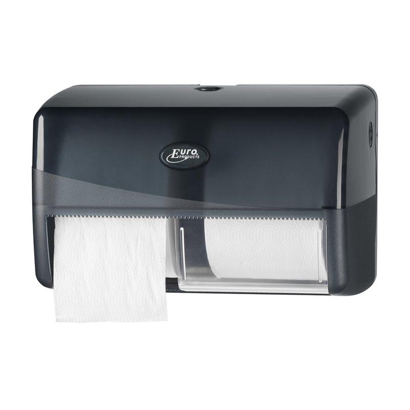 Toiletpapierdispenser Traditioneel Euro Compact Duo Pearl Black Horecavoordeel.com