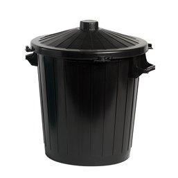 Garbage bin Round Black 80 Liter with Lid