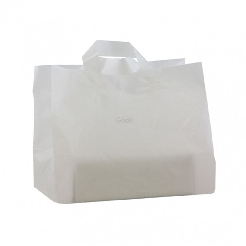 Snack bag White Plastic With handle Block bottom 32025cm+ 2x9cm 60my  - Horecavoordeel.com