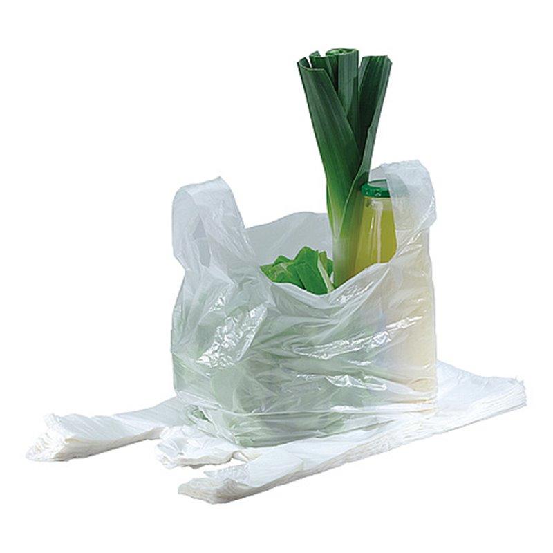 Shirt bag Shopper White 50+(2x15)x80cm 30my - Horecavoordeel.com