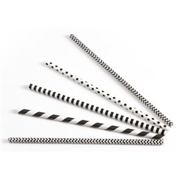 Drinking Straw Paper Black/white Assorted 6mm / 20cm (Small package)