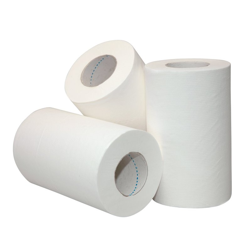 Cleaning Roll Mini Recycled White With Sleeve 1layer 20cmx120m - Horecavoordeel.com