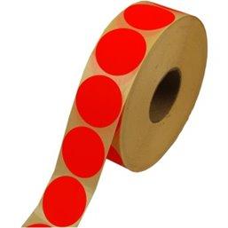 Etiketten - Labels Zelfklevend Rood Permanent Fluor Rond 35mm