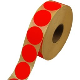 Labels Self adhesive Red Permanent Fluor round 35mm