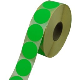 Labels Self adhesive Green Permanent Fluor round 35mm