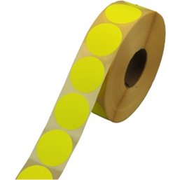 Labels Self adhesive Yellow Permanent Fluor round 35mm
