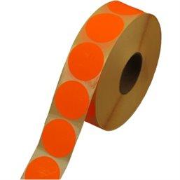 Labels Self adhesive Orange Permanent Fluor round 35mm