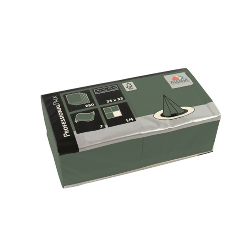 Napkins Dark Green 33x33cm 2 Layers 1-4 fold Fasana - Horecavoordeel.com