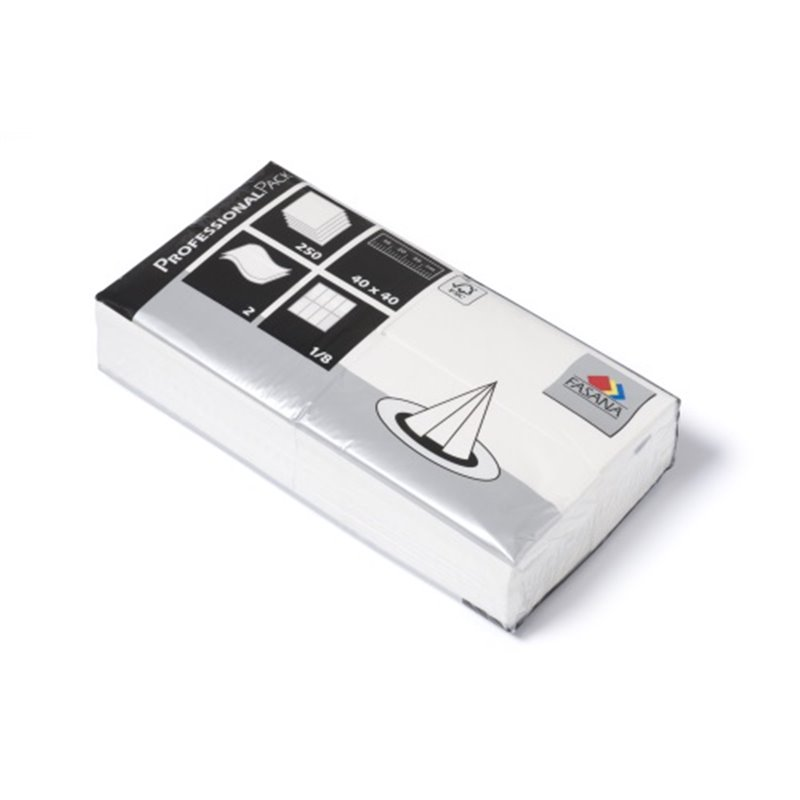 Napkins White 40x40cm 2 Layers 1-8 fold Fasana - Horecavoordeel.com