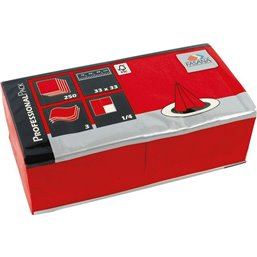 Napkins Red 33x33cm 2 Layers 1-4 fold Fasana