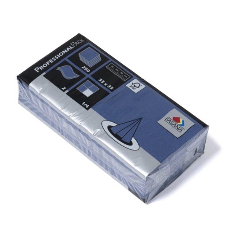 Napkins Blue 33x33cm 2 Layers 1-4 fold Fasana - Horecavoordeel.com