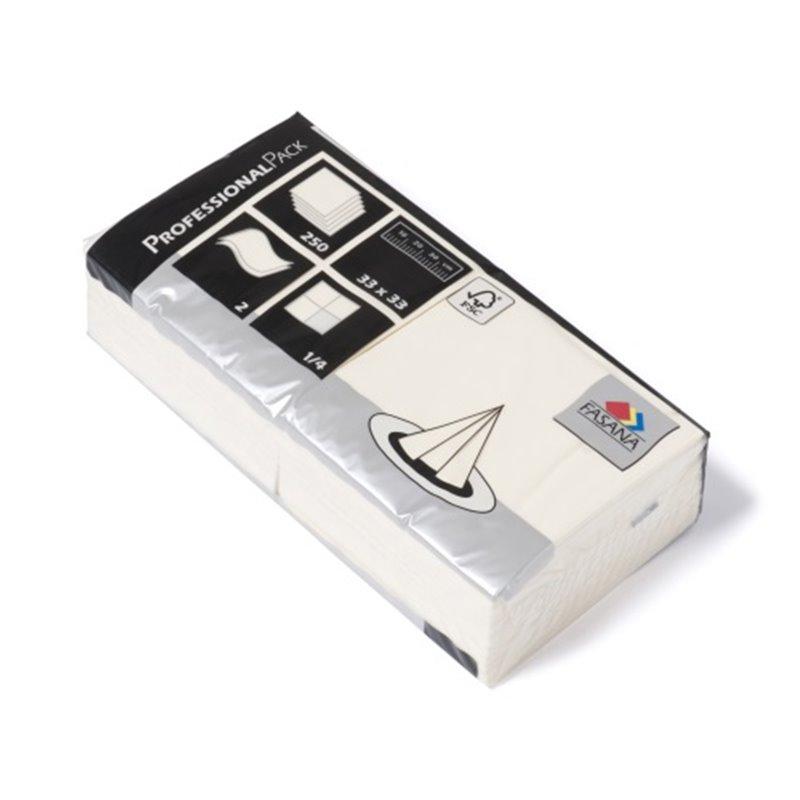 Napkins Cream 33x33cm 2 Layers 1-4 fold Fasana - Horecavoordeel.com
