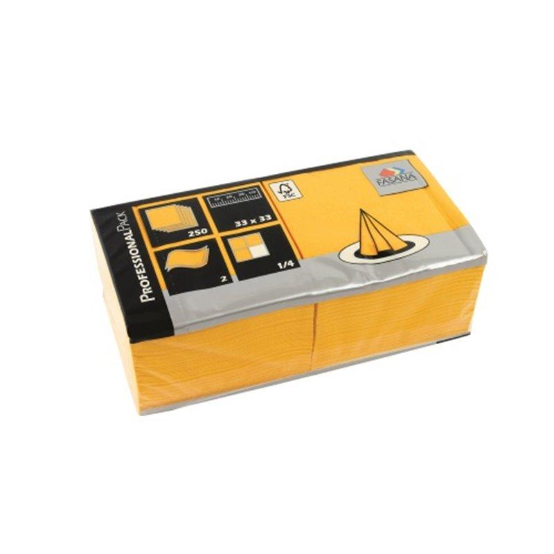 Servetten Geel 2 Laags 1/4 Vouw Fasana 330 x 330mm Horecavoordeel.com
